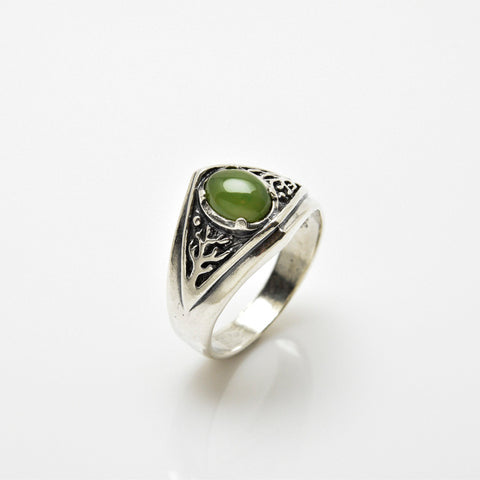 Celtic Tree of Life Ring .925 Sterling Silver Pagan Druid World Tree Ring with genuine Jade