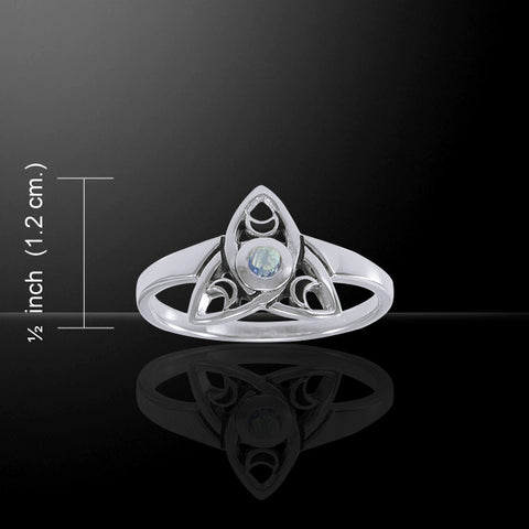 Celtic Triquetra Moon Ring in .925 Sterling Silver - Trinity Knot Ring with 3 Crescent Enameled Moons and moonstone center