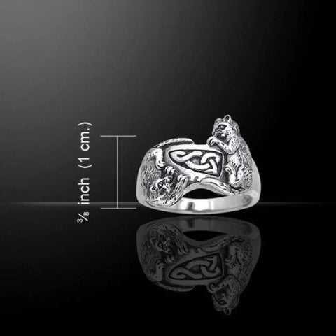 Celtic Cat Kitty Ring .925 Sterling Silver Playful Kitties Ring w/ Celtic Knot