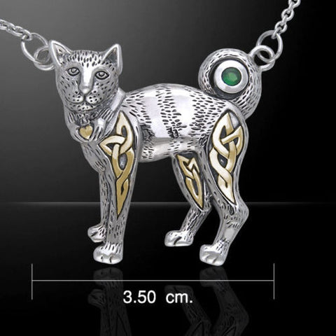 Celtic Cat Necklace in .925 Sterling Silver with Gold accent - Celtic Claddagh Kitty