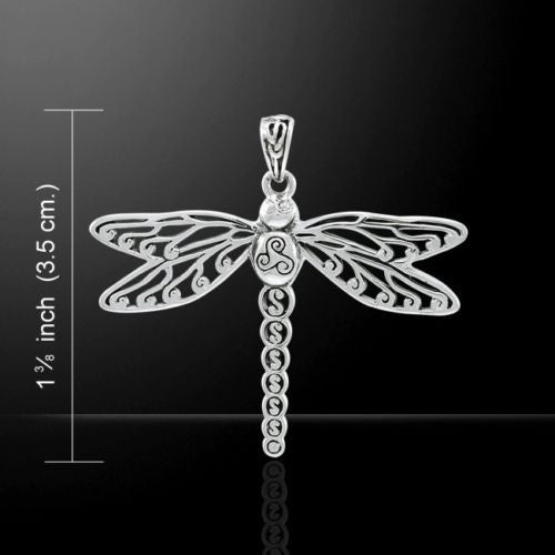 Celtic DRAGONFLY Pendant .925 Sterling Silver Celtic Spiral Light Force energy