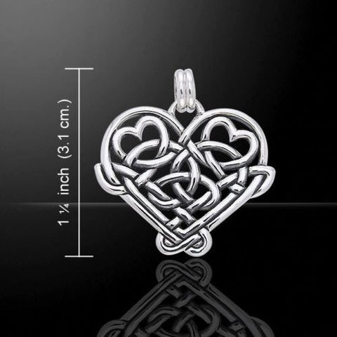 Celtic Hearts Pendant in .925 Sterling Silver - Celtic Knotwork Hearts - Romantic Jewelry