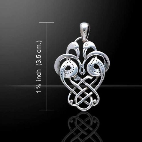 Celtic Heron CREYR Pendant .925 Sterling Silver - Eternity Knot Love birds pendant