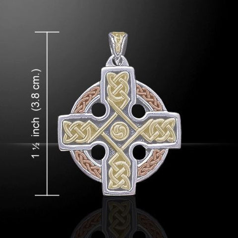 Celtic KING'S Cross Pendant 925 Silver w/ Pink & Yellow Gold vermeil Celtic Knot