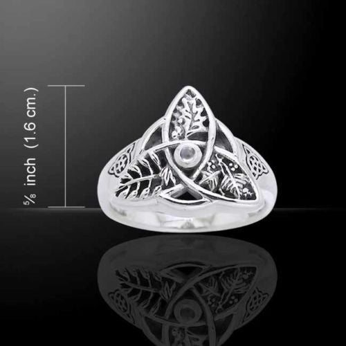Oak Ash Thorn Ring .925 Sterling Silver Celtic Knot Triquetra Faerie Magick Druid Pagan Ring with Moonstone
