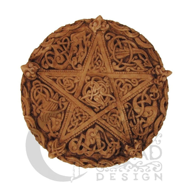 Celtic PENTACLE Knotwork Wall Plaque - Anglo-Saxon Style Dryad Design Pentacle Wall Hanging