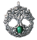 Celtic Tree of Life Pendant in .925 Sterling Silver - Druid Yggdrasil Amulet with Selectable gemstone Pendant