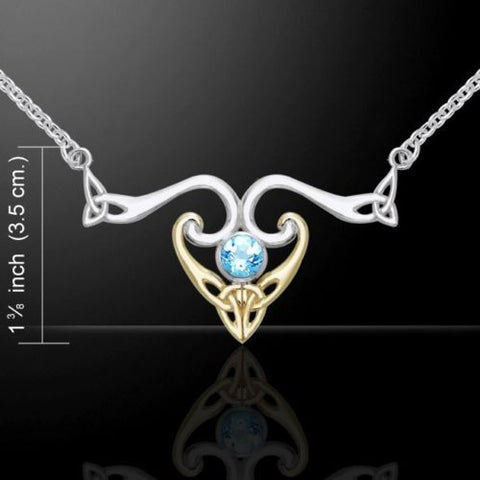 Celtic Triquetra Necklace in Sterling Silver with Gold accent and selectable gemstone - Unique Modern Design