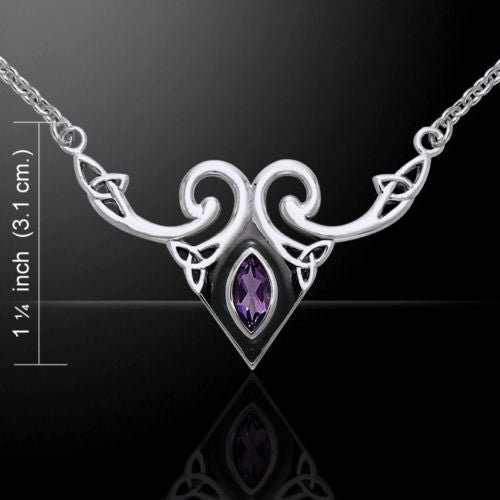 Celtic Triskele Necklace 925 Sterling Silver Amethyst Celtic Knotwork necklace