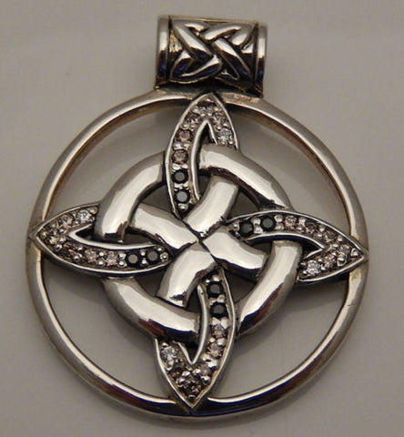 Celtic Witches Knot Pendant Solid Sterling Silver Quaternary Knot Multi-Crystals Pendant