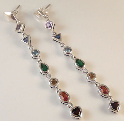 Chakra Earrings in .925 Sterling Silver - Geometric Art Deco Chakra Multi-colored gemstone dangles