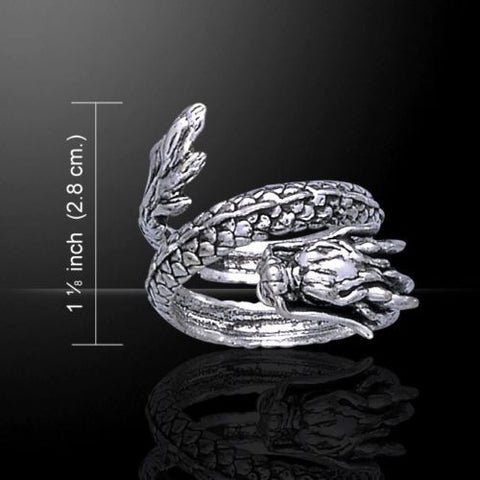 Chinese Dragon Ring in .925 Sterling Silver - Coiled Asian Dragon ring - Powerful Protection