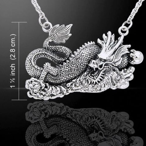 Chinese Dragon Necklace .925 Sterling Silver Asian Dragon Powerful Protection