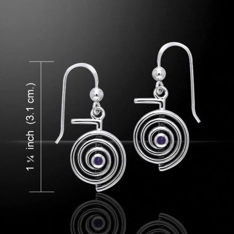 Cho Ku Rei REIKI Earrings in .925 Sterling Silver - ChoKu Rei Spiral Power Healer's Jewelry with choice of gemstone