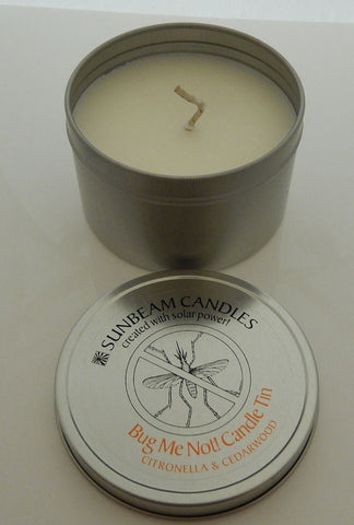 Bug Mosquito Repellent candle BUG ME NOT Citronella Cedarwood Container Candle