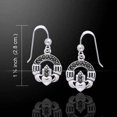 Celtic Claddagh Marcasite Earrings -  Traditional Irish Claddagh Dangle earrings
