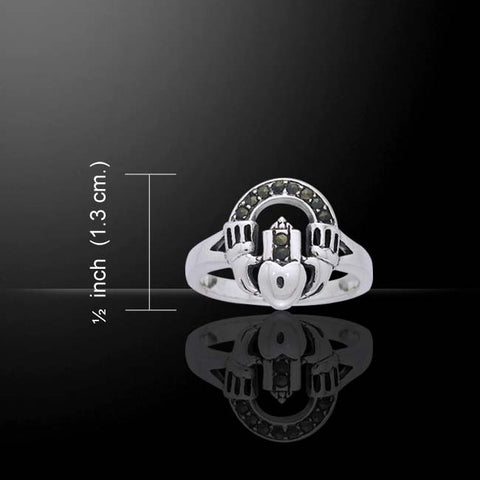 Celtic Claddagh Marcasite Ring -  Traditional Irish Claddagh Ring