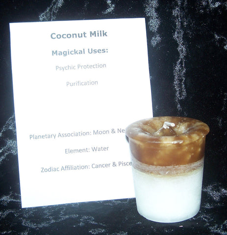 Coconut Milk Candle - Crystal Journey Candles Manifestation votive Psychic Protection