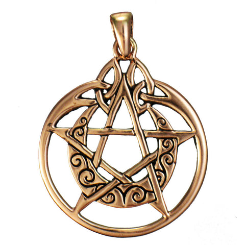 Copper Encircled MOON PENTACLE Pendant by Dryad Design - Celtic Pentacle Wiccan Pagan Amulet