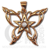 Butterfly Pentacle Pendant - Dryad Design Celtic Butterfly in Copper with White Moonstone jewelry
