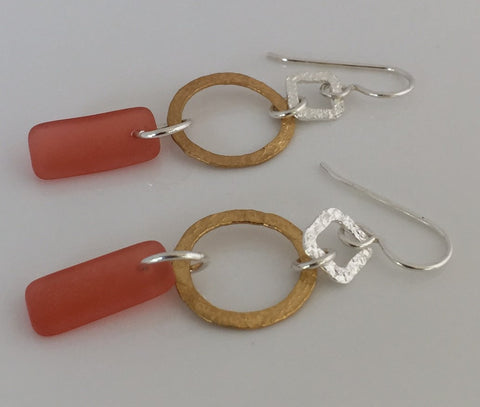 Geometric Coral Sea Glass Always Earrings in .925 Sterling Silver with Hammered gold plated accent- SeaGlass Dangles