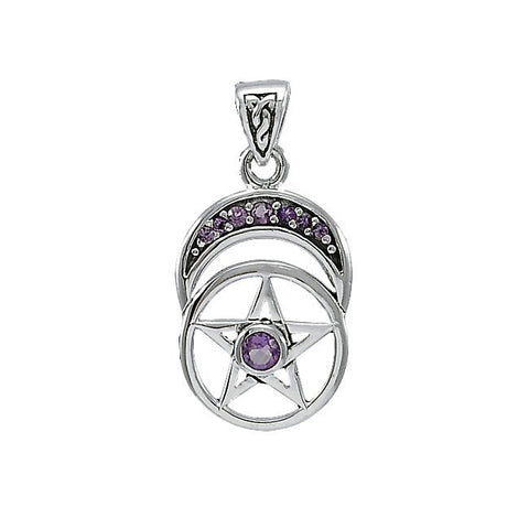Crescent Moon Pentacle in .925 Sterling Silver with multiple Amethyst - Goddess Amulet