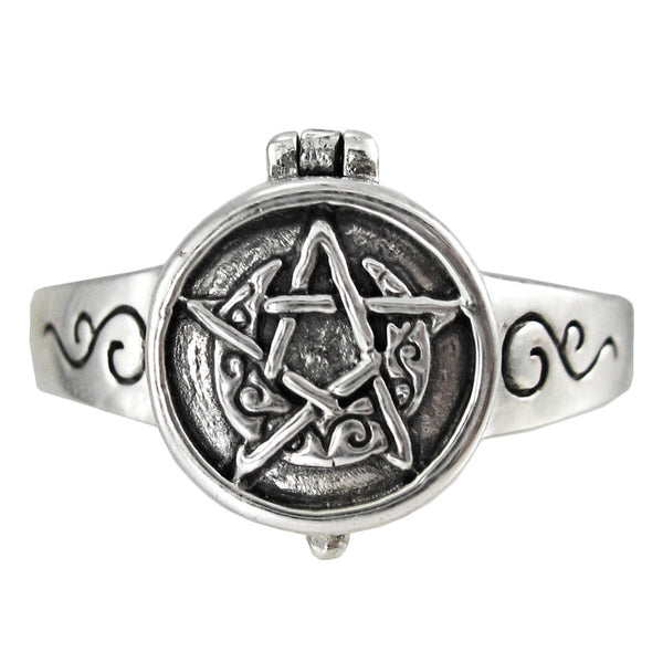 Crescent Moon Pentacle Poison Locket Ring in .925 Sterling Silver - Dryad Design Secret Stash Ring