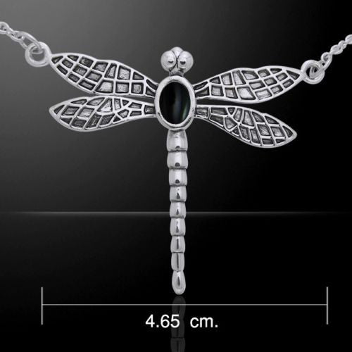 DRAGONFLY Necklace .925 Sterling SILVER w/ Black Onyx Light Force Energy pendant