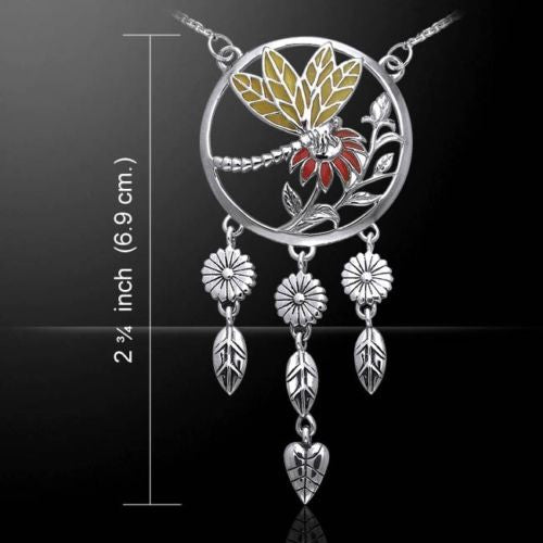 DRAGONFLY Portrait Necklace .925 Sterling SILVER Enamel Flowers - Creative Magic