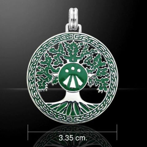 DRUID Oak Tree Pendant in solid .925 Sterling Silver with Green Enamel - TREE Magick - Druidic World Tree of Life