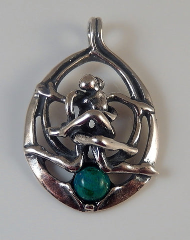 DANCING COUPLE Pendant in .925 Sterling Silver with genuine Chrysocolla - Lovers entwined Relationship
