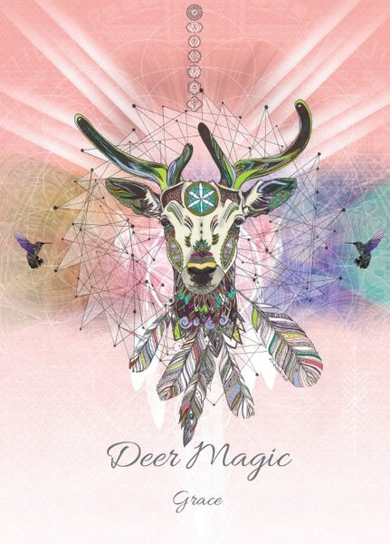 Deer Magick Greeting Card - Deer Chakra Hummingbird Grace Card - Art by Karin Roberts