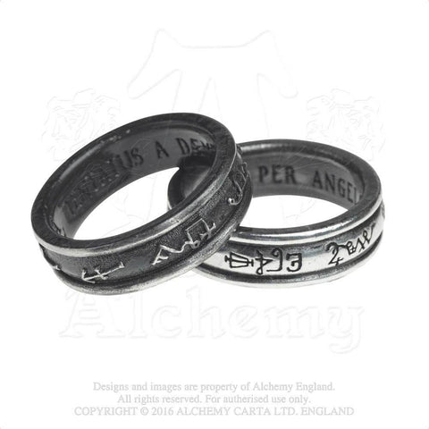 Demon Black and Angel White Ring - Alchemy Gothic Medieval Angelic Planetary Sigil Ring - Set of 2 rings