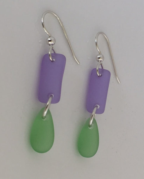 Dew Drop Sea Glass Earrings in .925 Sterling Silver - Alexandrite Purple and Lime Green SeaGlass Earrings