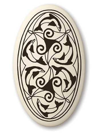 Celtic Dolphin Triskele Necklace - Nehalennia Celtic Goddess Porcelain Oval Pendant