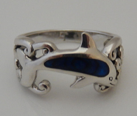 Dolphin Ring in .925 Sterling Silver with Paua Shell inset -  Dolphin Ocean Wave Ring