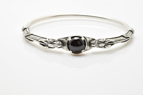 Celtic Dragon Bracelet .925 Sterling Silver - Medieval Dragon Bangle with genuine Black Star Diopside