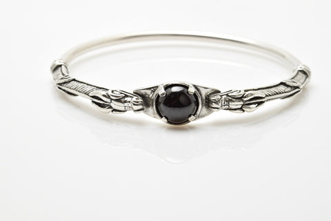 Celtic Dragon Bracelet .925 Sterling Silver - Medieval Dragon Bangle with Gemstone choice