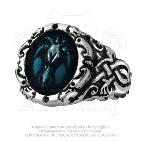 Alchemy Gothic CELTIC DRAGON Talisman Ring - Dragon Celtica Ring with blue enamel
