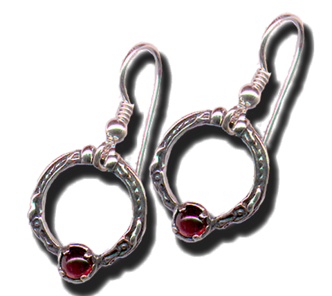 Celtic Dragon Circle Treasure Earrings in .925 Sterling Silver with natural Garnet gemstones - Made in the USA