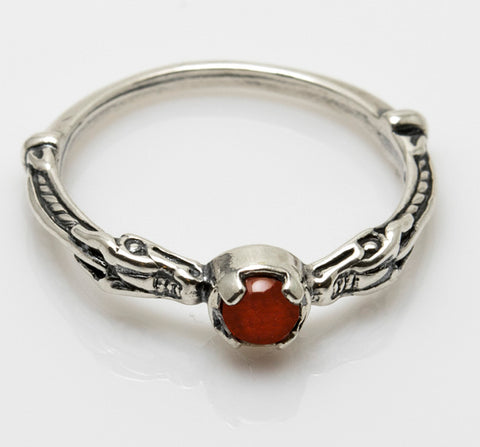 Celtic Dragon Ring in .925 Sterling Silver with natural Carnelian gem - Serpent Dragon Ring