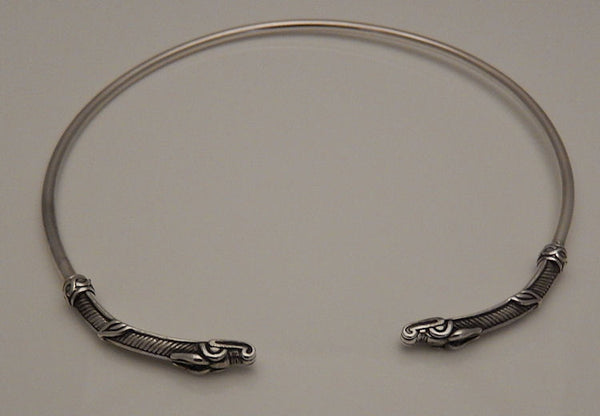 Dragon Torq in solid Sterling Silver - Open Necklace Choker - Medieval Dragon Serpent Power Torque