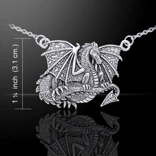 Medieval Dragon Necklace in .925 Sterling Silver - Dragon Magick Serpent Pendant