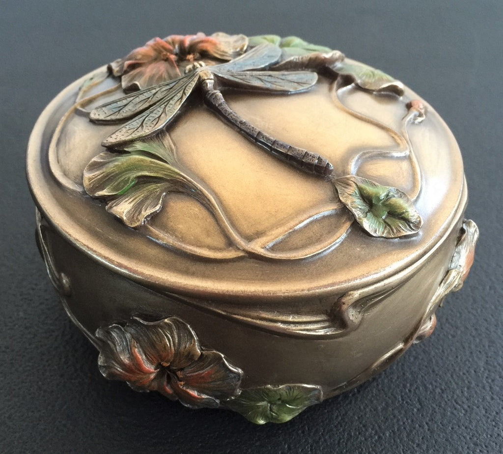 Dragonfly and Hibiscus Jewelry bronze Trinket Box - Art Noveau Style ...