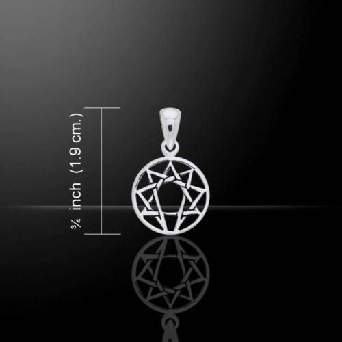ENNEAGRAM Symbol Pendant 925 Sterling Silver GEOMETRIC 9 Personality Types small Pendant