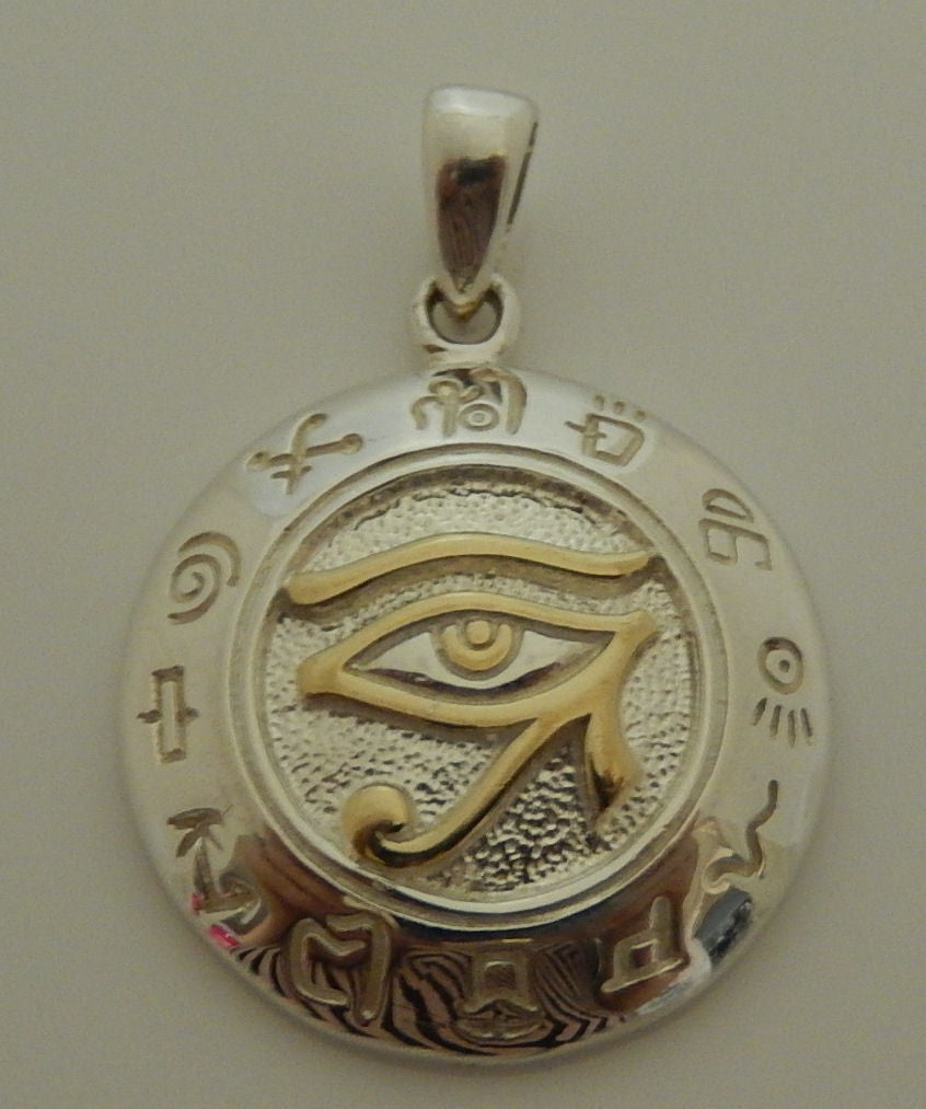 Eye of ra horus pendant in 925 sterling silver with gold vermeil eye of ra horus pendant in 925 sterling silver with gold vermeil egyptian falcon aloadofball Images