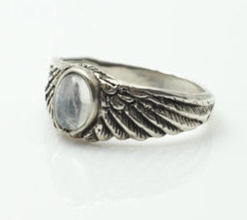 Eagle Wing Ring .925 Sterling Silver Small with Genuine Rainbow Moonstone gemstone