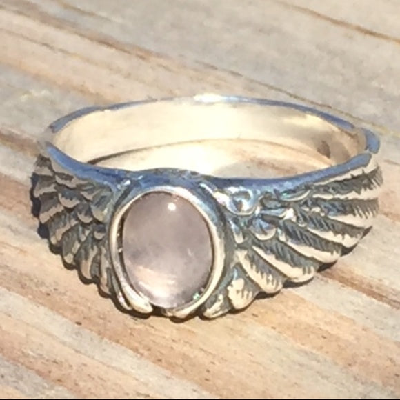 Eagle Wing Ring .925 Sterling Silver Small with Genuine Rose Quartz gemstone