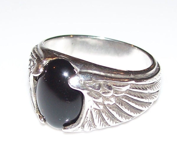 Eagle Wing Ring in . 925 Sterling Silver with choice of gemstone - Eagle Symbolizes Freedom & Achievement