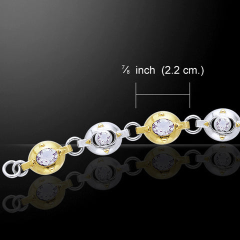 Elegant Ovals Bracelet in .925 Sterling Silver with Gold Accent - Choice of gemstone - Art Deco Oval geometric